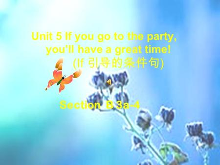 Unit 5 If you go to the party, you'll have a great time! (If 引导的条件句 ) Section B 3a-4.