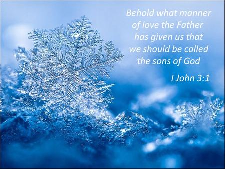 Behold what manner of love the Father has given us that