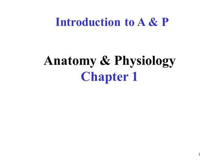 Anatomy & Physiology Chapter 1