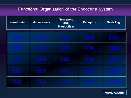 Functional Organization of the Endocrine System $100 $200 $300 $400 $500 $100$100$100 $200 $300 $400 $500 Introduction FINAL ROUND Homeostasis Transport.