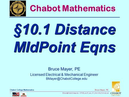 §10.1 Distance MIdPoint Eqns