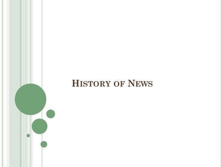 H ISTORY OF N EWS. A GENDA What? Identify bias in the news Learn about the history of news, types of news and the 6 key questions for a news article Why?