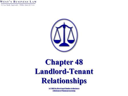 Chapter 48 Landlord-Tenant Relationships. Introduction Anyone who rents housing to the public for commercial purposes subjects herself to various state.