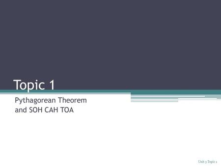 Topic 1 Pythagorean Theorem and SOH CAH TOA Unit 3 Topic 1.