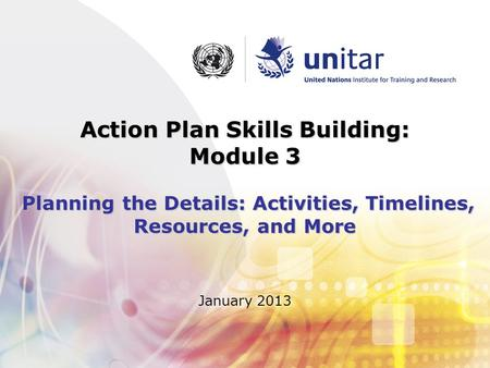 January 2013 Action Plan Skills Building: Module 3 Planning the Details: Activities, Timelines, Resources, and More.