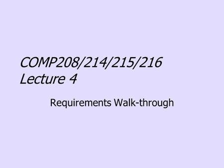 Requirements Walk-through