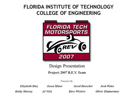 FLORIDA INSTITUTE OF TECHNOLOGY COLLEGE OF ENGINEERING