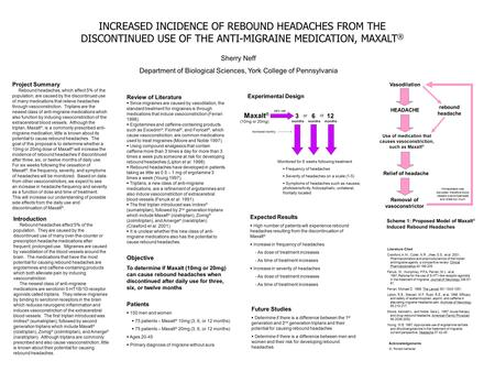 INCREASED INCIDENCE OF REBOUND HEADACHES FROM THE DISCONTINUED USE OF THE ANTI-MIGRAINE MEDICATION, MAXALT ® Sherry Neff Department of Biological Sciences,