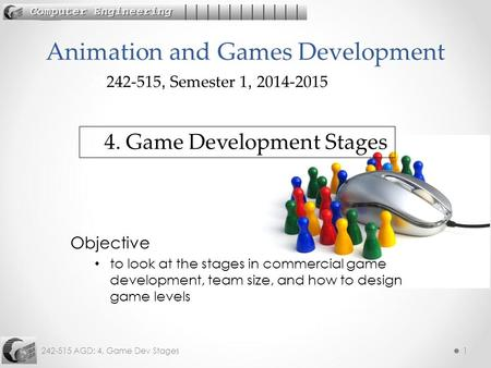 242-515 AGD: 4. Game Dev Stages1 Objective to look at the stages in commercial game development, team size, and how to design game levels Animation and.