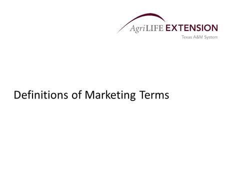 Definitions of Marketing Terms. Cash Market Definitions  Cash Marketing Basis – the difference between a cash price and a futures price of a particular.
