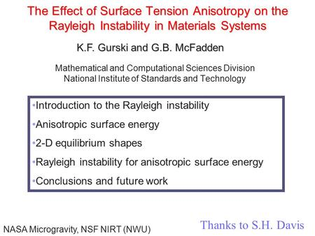 The Effect of Surface Tension Anisotropy on the Rayleigh Instability in Materials Systems Mathematical and Computational Sciences Division National Institute.