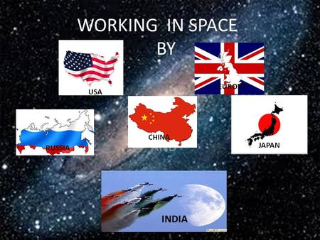 WORKING IN SPACE BY AND USA RUSSIA CHINA EUROPE JAPAN INDIA.