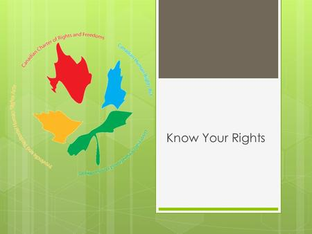 Know Your Rights. The Canadian Bill of Rights 1960 The Ontario Human Rights Code 1962 The Canadian Human Rights Act 1977 The Canadian Charter of Rights.