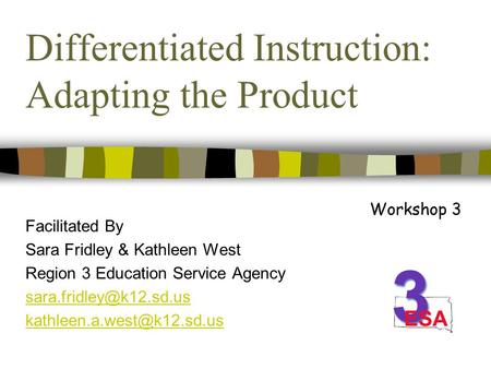 Differentiated Instruction: Adapting the Product Facilitated By Sara Fridley & Kathleen West Region 3 Education Service Agency