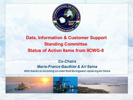 Data, Information & Customer Support Standing Committee Status of Action Items from IICWG-8 Co-Chairs Marie-France Gauthier & Ari Seina With thanks to.