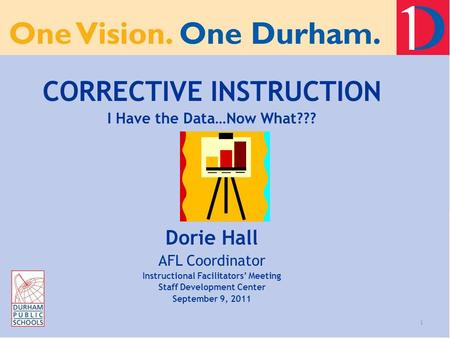 1 CORRECTIVE INSTRUCTION I Have the Data…Now What??? Dorie Hall AFL Coordinator Instructional Facilitators' Meeting Staff Development Center September.