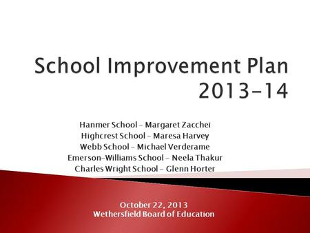 Hanmer School – Margaret Zacchei Highcrest School – Maresa Harvey Webb School – Michael Verderame Emerson-Williams School – Neela Thakur Charles Wright.