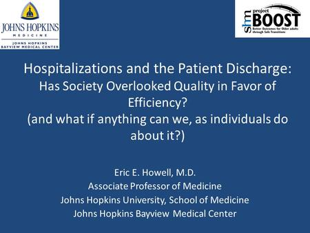 Hospitalizations and the Patient Discharge: Has Society Overlooked Quality in Favor of Efficiency? (and what if anything can we, as individuals do about.