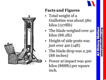 Facts and Figures Total weight of a Guillotine was about 580 kilos (1278lb) The blade weighed over 40 kilos (88.2lb) Height of side posts was just over.