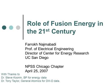 Role of Fusion Energy in the 21st Century
