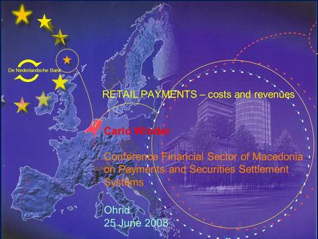 De Nederlandsche Bank Eurosysteem RETAIL PAYMENTS – costs and revenues Carlo Winder Conference Financial Sector of Macedonia on Payments and Securities.