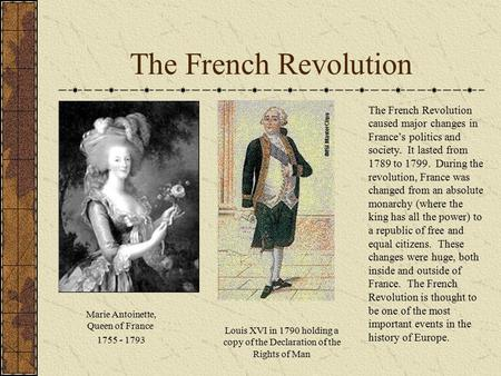 The major impact of he french revolution between 1789 and 1799