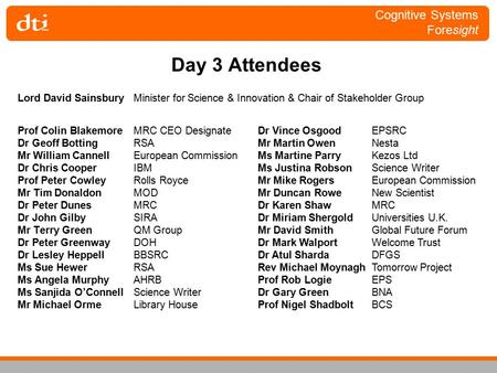 Cognitive Systems Foresight Day 3 Attendees Prof Colin BlakemoreMRC CEO Designate Dr Geoff BottingRSA Mr William CannellEuropean Commission Dr Chris CooperIBM.