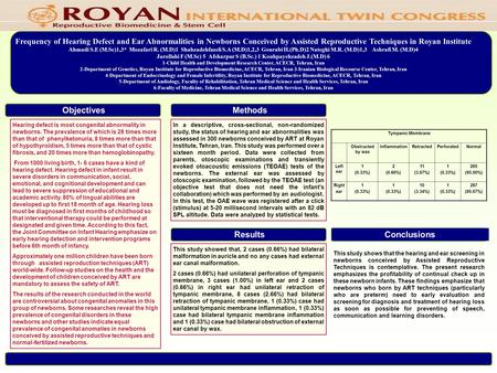 Frequency of Hearing Defect and Ear Abnormalities in Newborns Conceived by Assisted Reproductive Techniques in Royan Institute Ahmadi S.E (M.Sc)1,3* Mozafari.