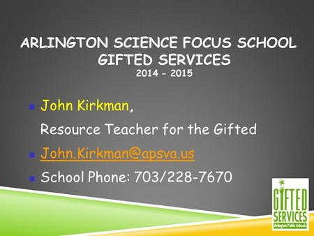 Arlington Science Focus School Gifted Services