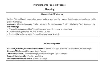 Thunderdome Project Process Planning Channel Kick-Off Meeting Review Editorial Requirements Document and map out plan for channel: initial roadmap (minimum.