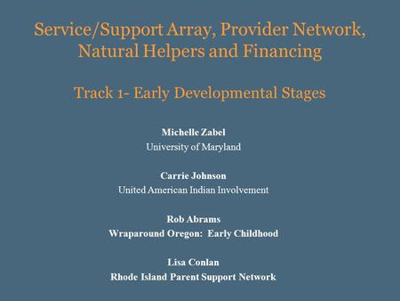Service/Support Array, Provider Network, Natural Helpers and Financing Track 1- Early Developmental Stages Michelle Zabel University of Maryland Carrie.