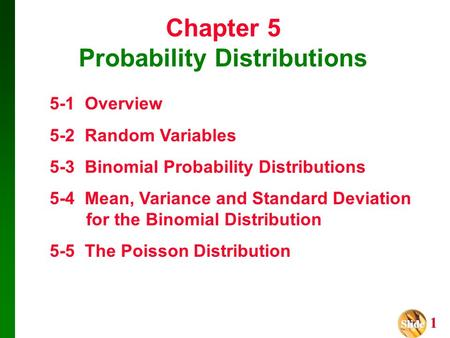 Slide Slide 1 Chapter 5 Probability Distributions 5-1 Overview 5-2 Random Variables 5-3 Binomial Probability Distributions 5-4 Mean, Variance and Standard.