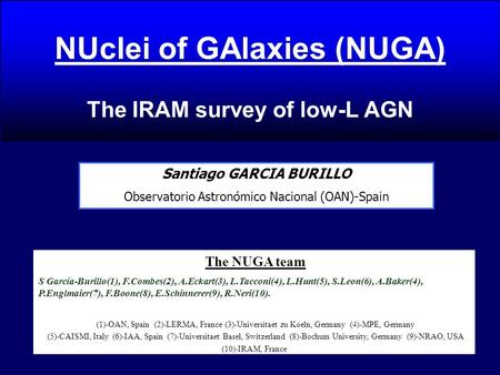 NUclei of GAlaxies (NUGA) The IRAM survey of low-L AGN Santiago GARCIA BURILLO Observatorio Astronómico Nacional (OAN)-Spain The NUGA team S García-Burillo(1),