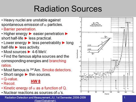Radiation Detection and Measurement, JU, 1st Semester, 2008-2009 (Saed Dababneh). 1 Radiation Sources Heavy nuclei are unstable against spontaneous emission.