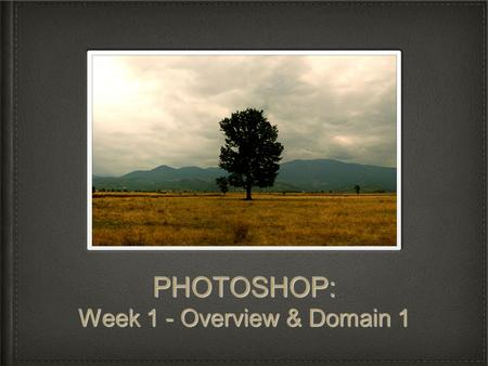 PHOTOSHOP: Week 1 - Overview & Domain 1. Domain 1 Objectives: Setting Project Requirements Identify the purpose, audience, and audience needs for preparing.