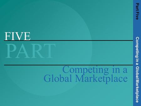 FIVE PART Competing in a Global Marketplace Part Five Competing in a Global Marketplace.