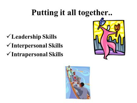 Leadership Skills Interpersonal Skills Intrapersonal Skills Putting it all together..