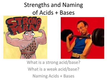 Strengths and Naming of Acids + Bases What is a strong acid/base? What is a weak acid/base? Naming Acids + Bases.