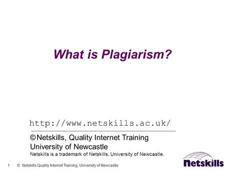 1 © Netskills Quality Internet Training, University of Newcastle What is Plagiarism?  © Netskills, Quality Internet Training.