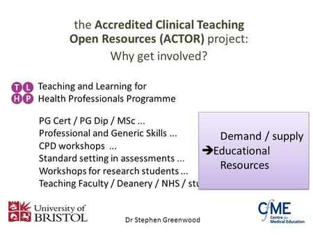 The Accredited Clinical Teaching Open Resources (ACTOR) project: Why get involved? Teaching and Learning for Health Professionals Programme PG Cert / PG.