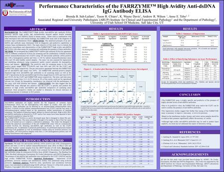 Performance Characteristics of the FARRZYME™ High Avidity Anti-dsDNA IgG Antibody ELISA Brenda B. Suh-Lailam 1, Tyson R. Chiaro 1, K. Wayne Davis 1, Andrew.