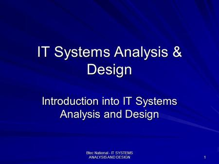 IT Systems Analysis & Design