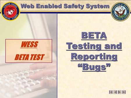 "WESS BETA TEST BETA Testing and Reporting ""Bugs"" Web Enabled Safety System."