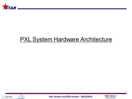 L. Greiner1PXL Sensor and RDO review – 06/23/2010 STAR PXL System Hardware Architecture.