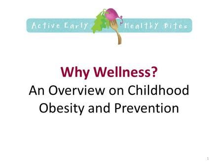 Why Wellness? An Overview on Childhood Obesity and Prevention 1.