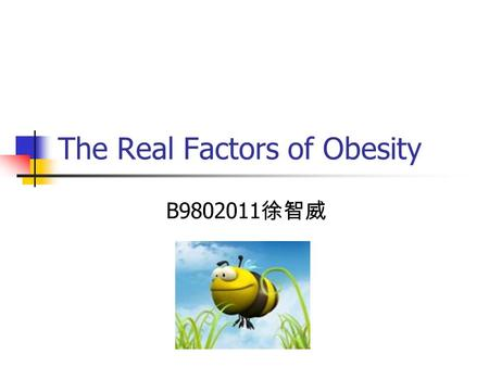 The Real Factors of Obesity