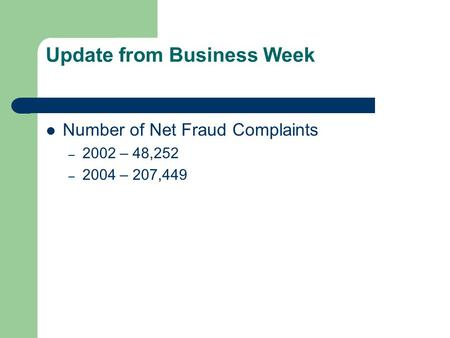 Update from Business Week Number of Net Fraud Complaints – 2002 – 48,252 – 2004 – 207,449.