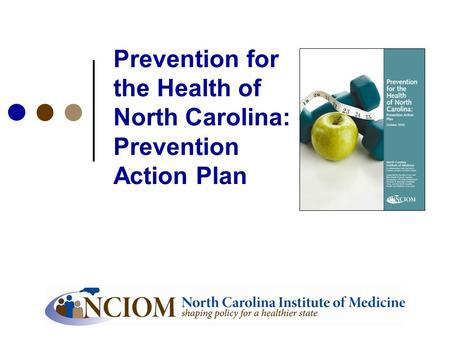 Prevention for the Health of North Carolina: Prevention Action Plan.