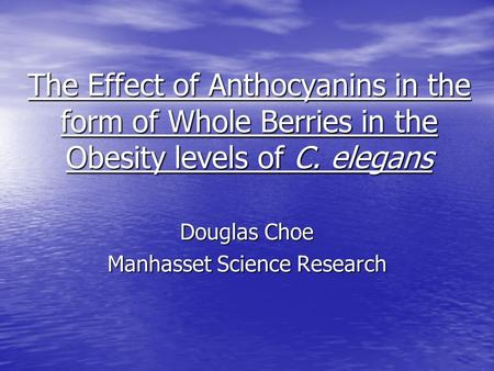 The Effect of Anthocyanins in the form of Whole Berries in the Obesity levels of C. elegans Douglas Choe Manhasset Science Research.