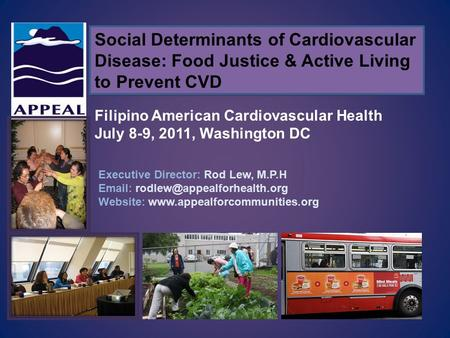 Social Determinants of Cardiovascular Disease: Food Justice & Active Living to Prevent CVD Executive Director: Rod Lew, M.P.H